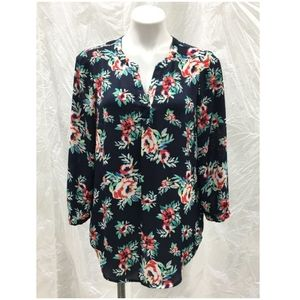 Cynthia Rowley long sleeve Floral Tunic Blouse S